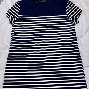 Missguided Navy and White Striped T Shirt Dress